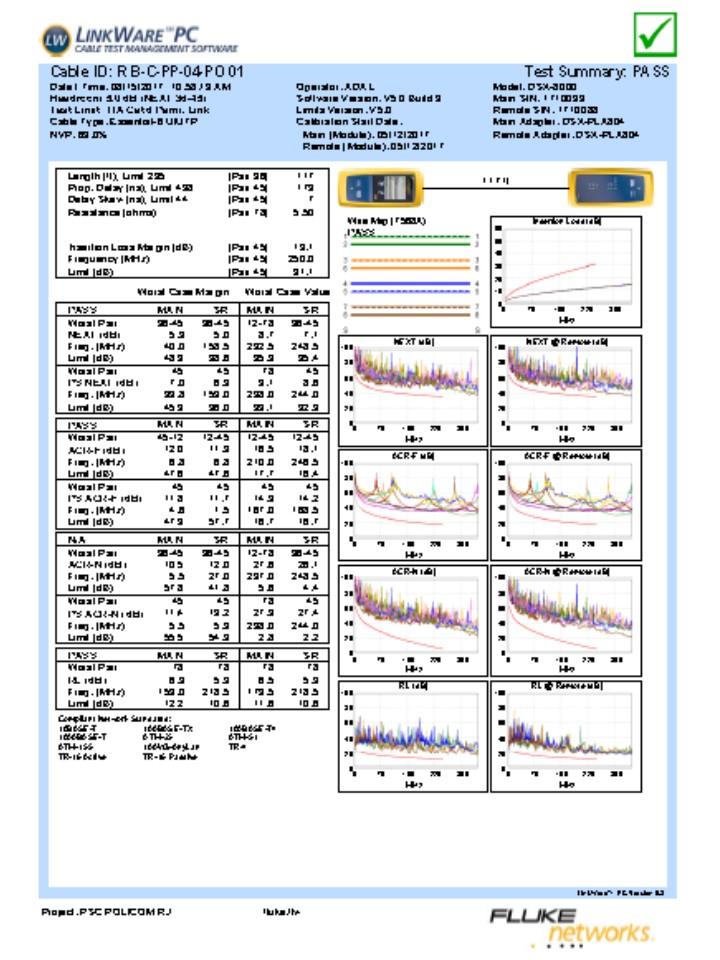 Certificacao com DSX8000 - laudo